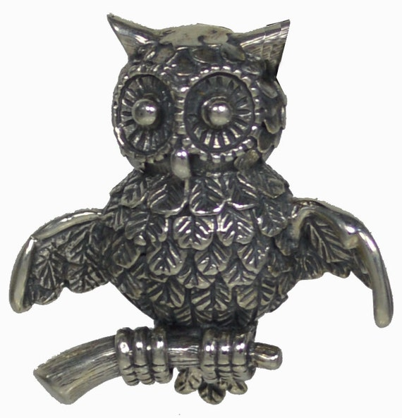 Owl Of Athena Brooch Pin - Silver 925