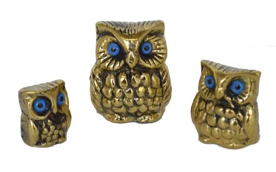 Set of 3 mini Bronze Owls - Symbol of Wisdom - Goddess Athena Ancient Greece