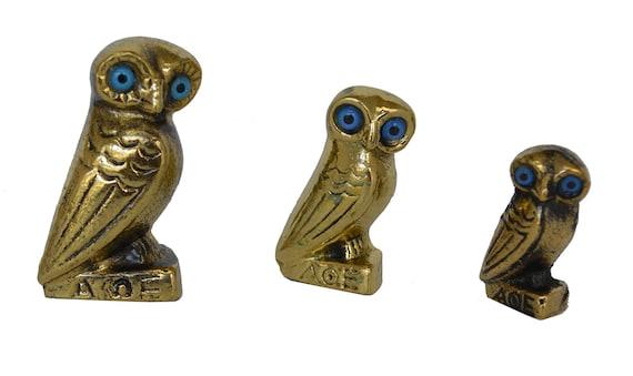 Set of 3 mini Bronze Owl - Symbol of Wisdom - Goddess Athena - Ancient Greece