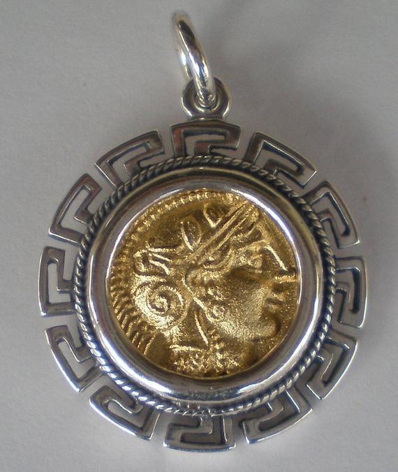 Goddess Athena & Owl of Wisdom Silver Pendant(Gold Plated) - Athens Tetradrachm Maiandros