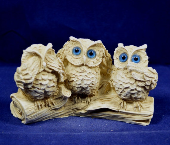 Owl sculpture miniature can't see hear talk aged artifact
