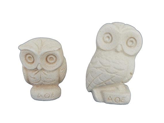 Owl miniature sculpture set Goddess Athena sacred Symbol