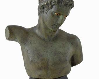 Marathon Boy or Ephebe of Marathon bronze sculpture bust