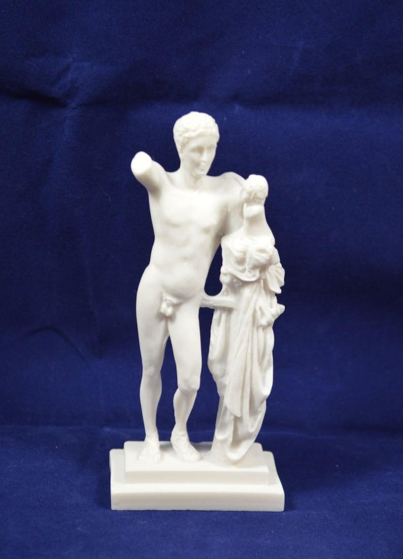 Grecque Statue Miniature Ancienne Hermes Sculpture Eros DHE29WIY
