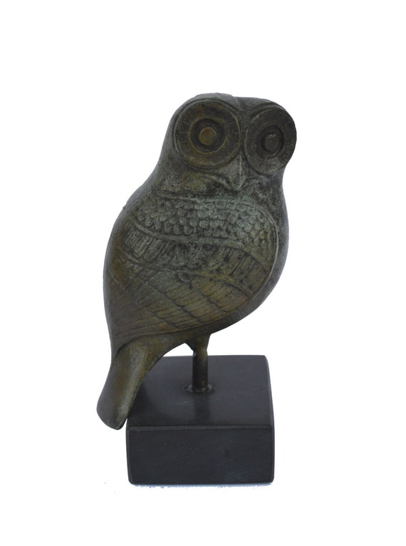 Owl sculpture ancient Greek miniature reproduction statue