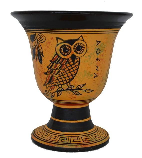 Pythagoras cup - Pythagorean fair cup of Justice with Owl of Athens design