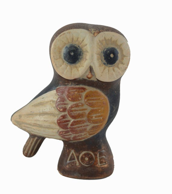 Owl Miniature Ancient Greek Symbol Of Wisdom Sculpture Etsy