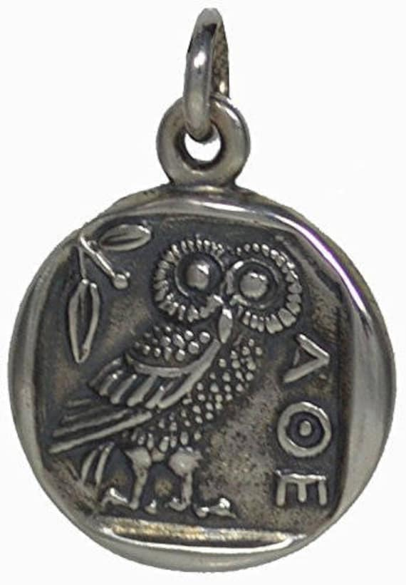 Athens Tetradrachm - Goddess Athena & Owl of Wisdom Silver Pendant - Virgin Goddess