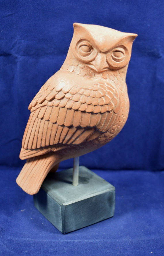 owl sculpture ancient Greek symbol of knowledge and wisdom ceramic statue