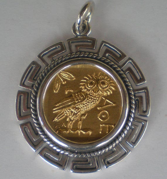 Owl Of Wisdom SIlver Pendant Maiander Design(Gold Plated) - Goddess Athena