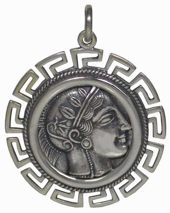 Goddess Athena X-Large Silver Coin Pendant with Meander Design - Owl Of Wisdom