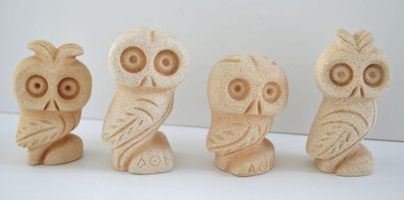 Owl Of Athens 4 Small Statues - Symbol of Wisdom Ancient Greece - Goddess Athena