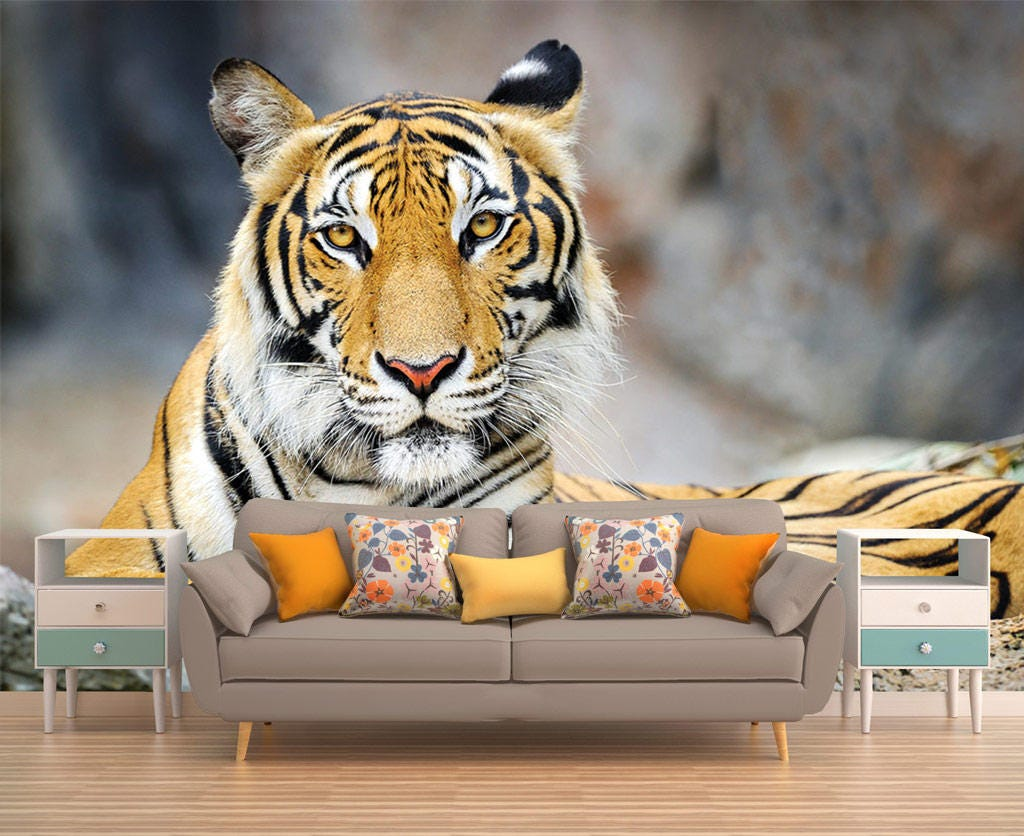 Tiger Wallpaper Wall Mural Nature Self Adhesive Vinyl Wall Etsy