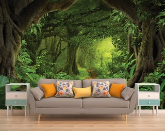 Forest Vinyl Wallpaper, Wallpaper, Removable Wallpaper, Peel and Stick, Self Adhesive, Temporary Wallpaper, Wall Sticker, Vinyl, Forest