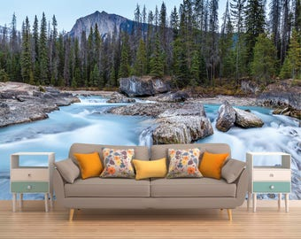 Mountain Wallpaper, Pine Trees, Mountain Wall Covering, Mountain Wall Decal Vinyl, Peel And Stick Mountain Wall Mural, Mountain Wall Decal