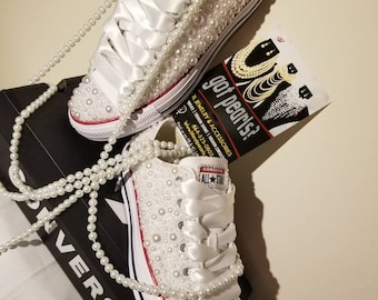 f2f618cf56a09b Customized Pearl Low Top Converse Chuck Taylors