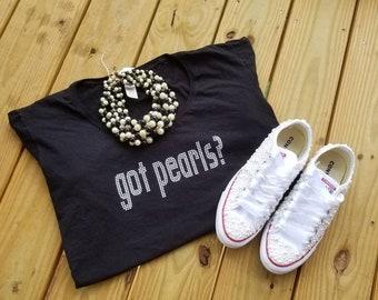 "Got Pearls"" Black Tee Shirt"