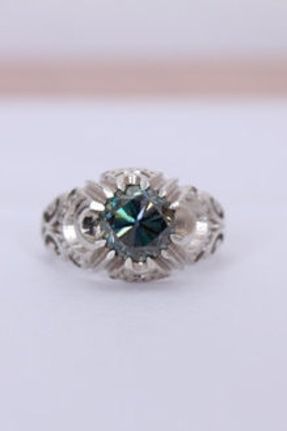 2.43CT Round Moissanite Blue Sapphire Halo Engagement Ring 925 Sterling Silver