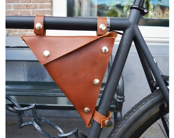Bicycle leather bag/ Leather Bike tool bag/ Triangle Bicycle Bag/ Tools box bag for bicycle/ Bike/ Bike Accessory/ Gift for him