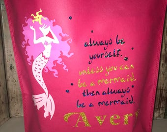 Personalized Trick or Treat Tote, Mermaid Halloween Tote, Always be yourself unless you can be a mermaid then always be a mermaid tote