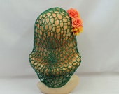 1940s Hairstyles- History of Women's Hairstyles Green Snood  1930s 1940s style  for long Hair $8.99 AT vintagedancer.com