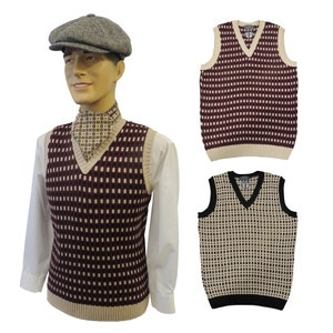 Men's Vintage Sweaters, Retro Jumpers 1920s to 1980s Mens Vintage style 1930s 40s WW2 Wartime knit sleeve less slip over Pull over Tank Top $50.11 AT vintagedancer.com