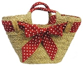 1940s Handbags and Purses History Red Polka Dot Vintage style Straw Basket 1940s 50s style $20.31 AT vintagedancer.com