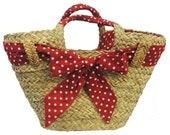 Vintage Handbags, Purses, Bags *New* Red Polka Dot Vintage style Straw Basket 1940s 50s style $20.31 AT vintagedancer.com