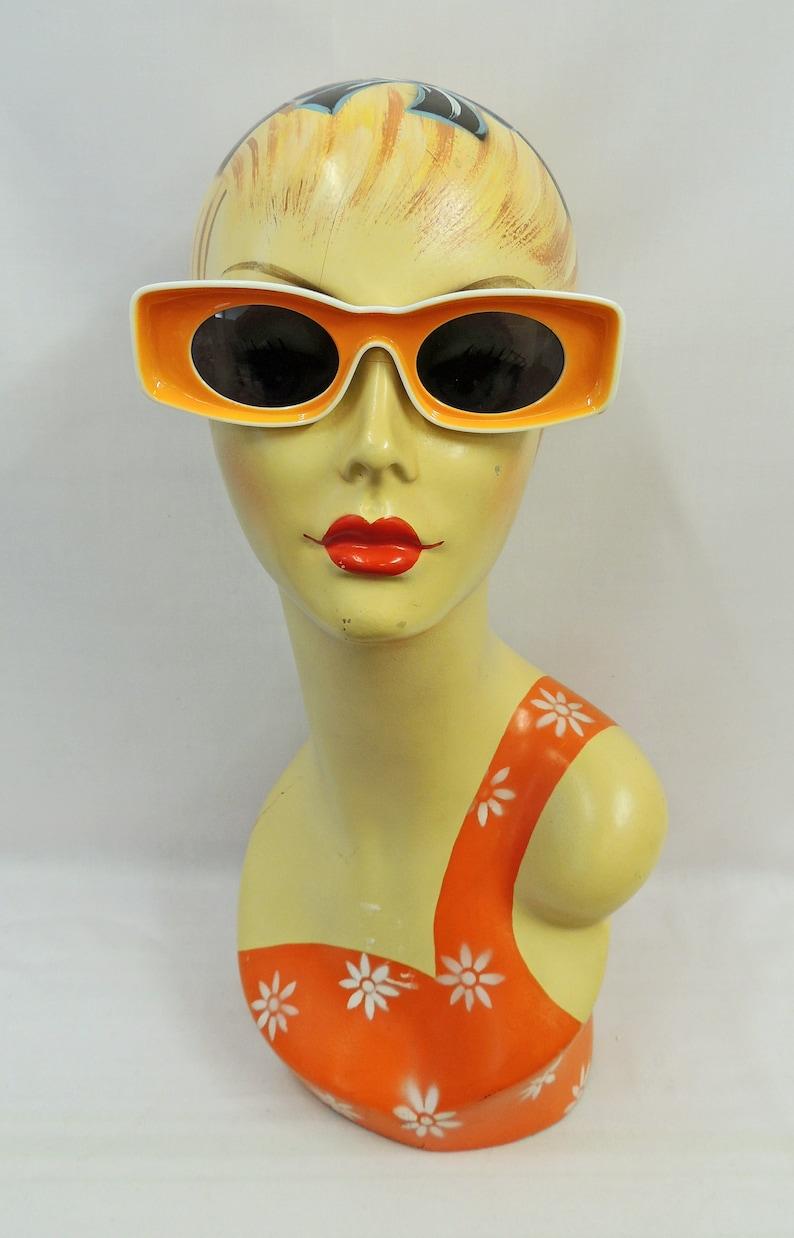 1960s Sunglasses | 70s Sunglasses, 70s Glasses Orange and White Space Age Sunglasses 1960s style UV400 $21.48 AT vintagedancer.com