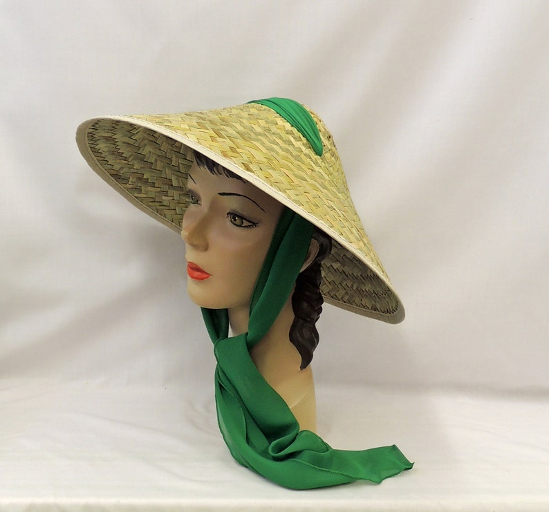 Tea Party Hats – Victorian to 1950s Vintage style 1940s 50s Tiki Sun Coolie Hat with Green Chiffon Tie scarf $34.37 AT vintagedancer.com