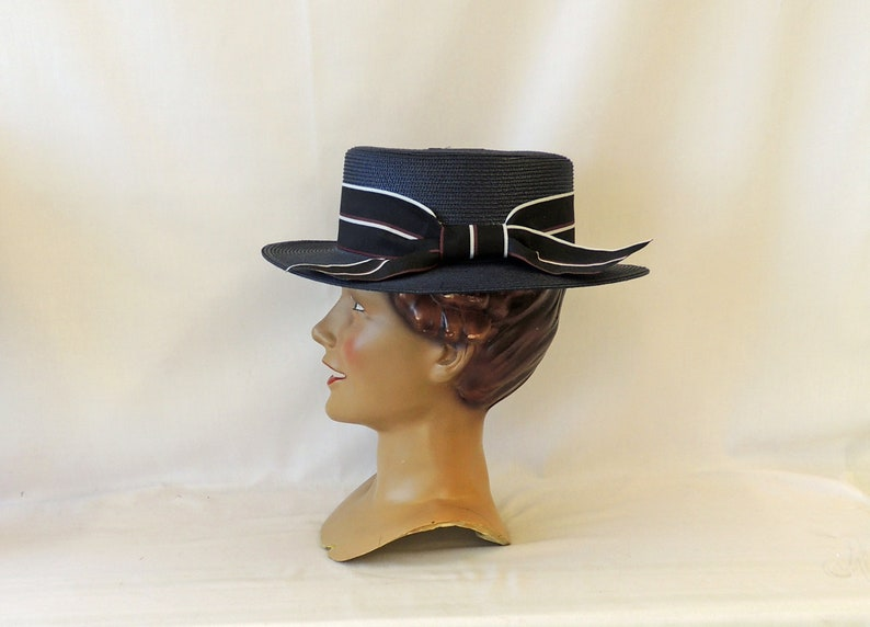 1920s Hat Styles for Women – History Beyond the Cloche Hat Classic Blue Summer Boater Hat Vintage style Victoriana 1920s 1930s 1940s  AT vintagedancer.com