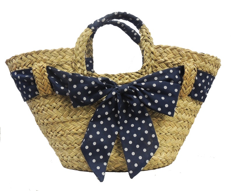 1940s Handbags and Purses History Blue Polka Dot Vintage style Straw Basket 1940s 50s style $21.45 AT vintagedancer.com