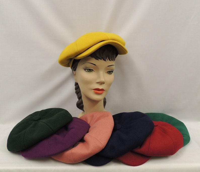 1940s Style Hats   Fascinator, Turban, Fedora Pure Wool Vintage Style 1930s 1940s Baker Boy/Girl News Boy Cap Hat  AT vintagedancer.com