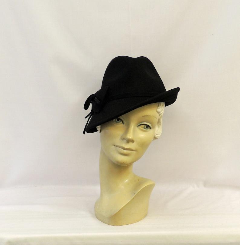 1940s Style Hats | Fascinator, Turban, Fedora Black Vintage style 1930's 1940's inspired 100% Wool Felt Short Brim Tilt Trilby Hat $41.53 AT vintagedancer.com
