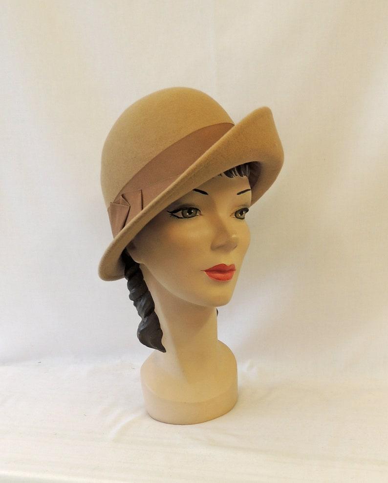 1940s Style Hats   Fascinator, Turban, Fedora Camel Vintage style 1930's 1940's inspired 100% Wool Turn-up Brim Round Crown Tilt Fedora Hat  AT vintagedancer.com