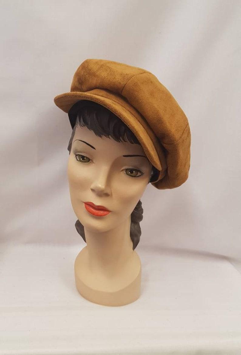 1920s Style Hats Suedette Vintage Style 1930s 1940s Baker Boy/Girl News Boy Cap Hat $21.48 AT vintagedancer.com