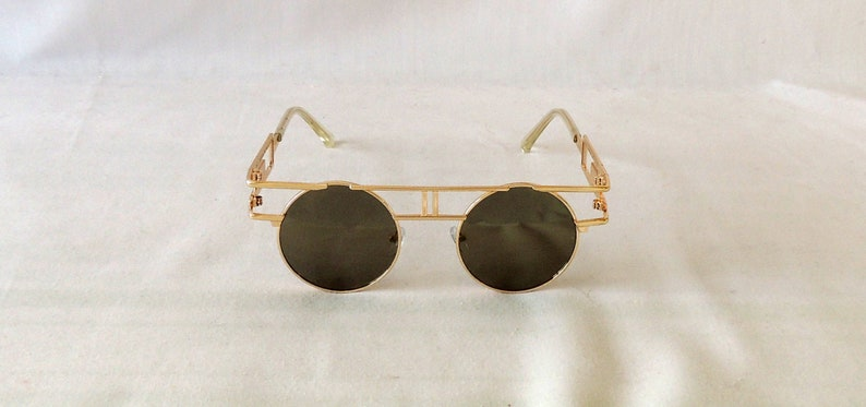 1920s Glasses & Sunglasses History Gold Mirrored Art Deco 1920s 1930s style Sunglasses UV400 $14.42 AT vintagedancer.com