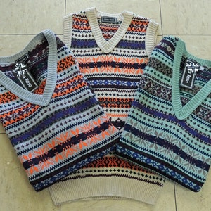 1940s Men's Shirts, Sweaters, Vests Mens Vintage style 1930s 40s WW2 Wartime Fair isle knit sleeve less slip over Pull over Tank Top $50.11 AT vintagedancer.com