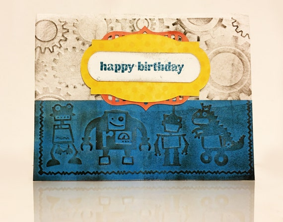 Robotics And Gears Little Boy Birthday Card Etsy