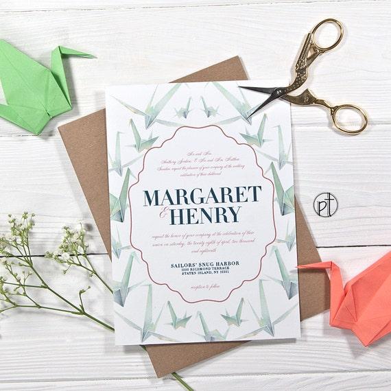 Origami Paper Crane Wedding Invitation Watercolor Etsy