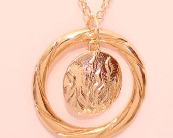 Fire in Engraved Circle Necklace or Keychain Fearless