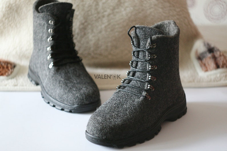 Mens casual shoes Felted shoes Handmade boots Outdoor shoes image 1