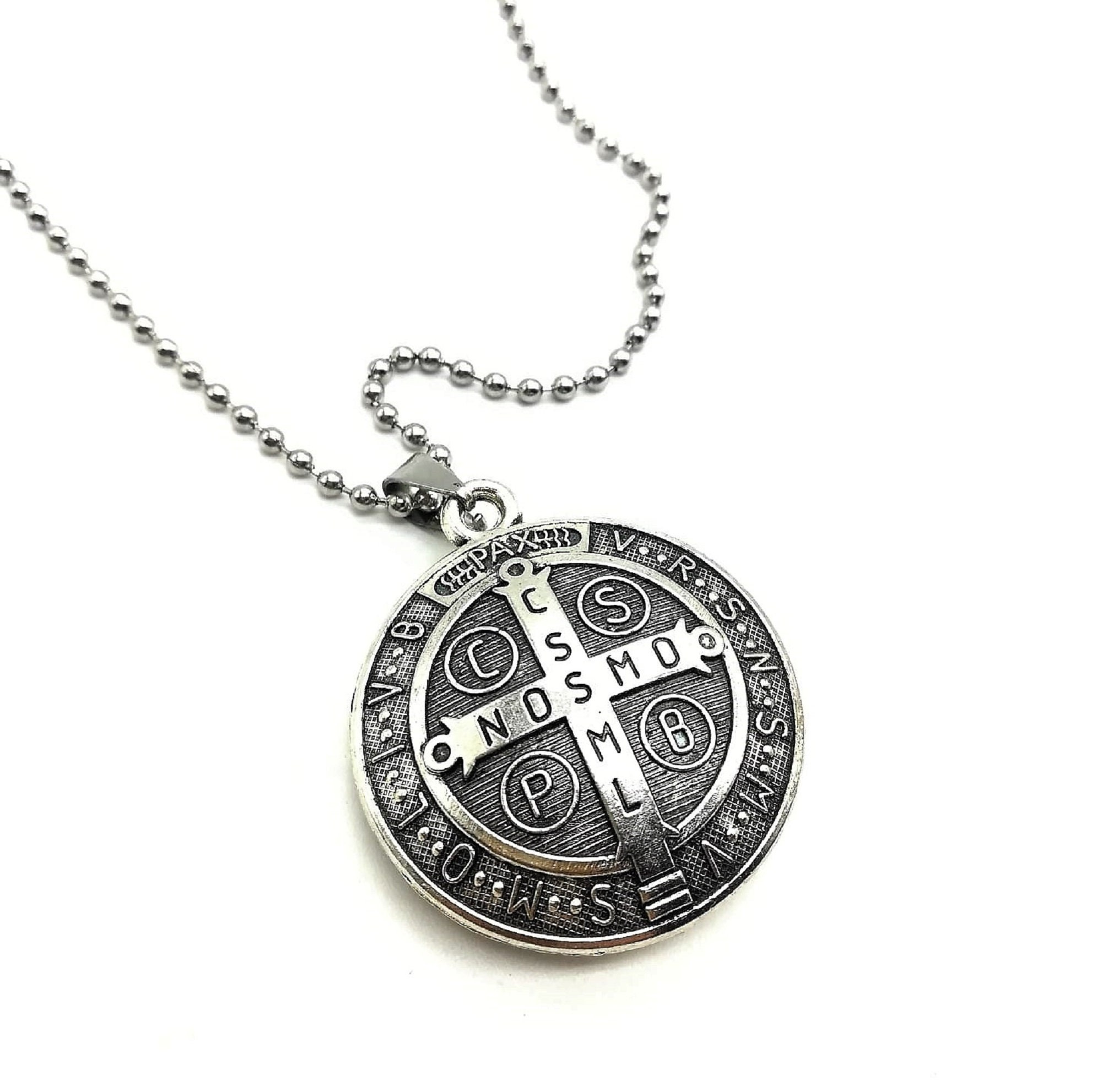 Saint Medal Necklace Catholic Necklace St Benedict Necklace Patron Saint Necklace Saint Benedict Medal Necklace Catholic Jewelry.
