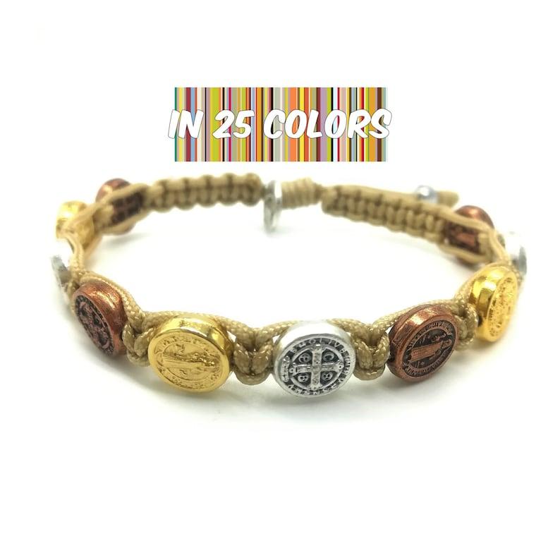 St Benedict bracelet with gold silver bronze tone medals, christian  bracelet, catholic gift, san benito bracelet, multicolor bracelet