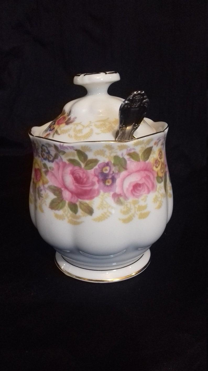 royal albert Serena Jam Marmalade Pot plus A Beautiful painted bowl Spoon older backstamp