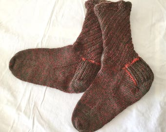Women's hand knit wool socks, olive and pimento