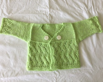Spring green bamboo and lambswool baby sweater