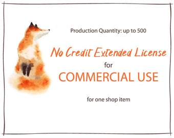 No Credit Extended License for Commercial Use. Applies for a single item. Production Quantity of 1-500 on Digital art or Clip Art Set