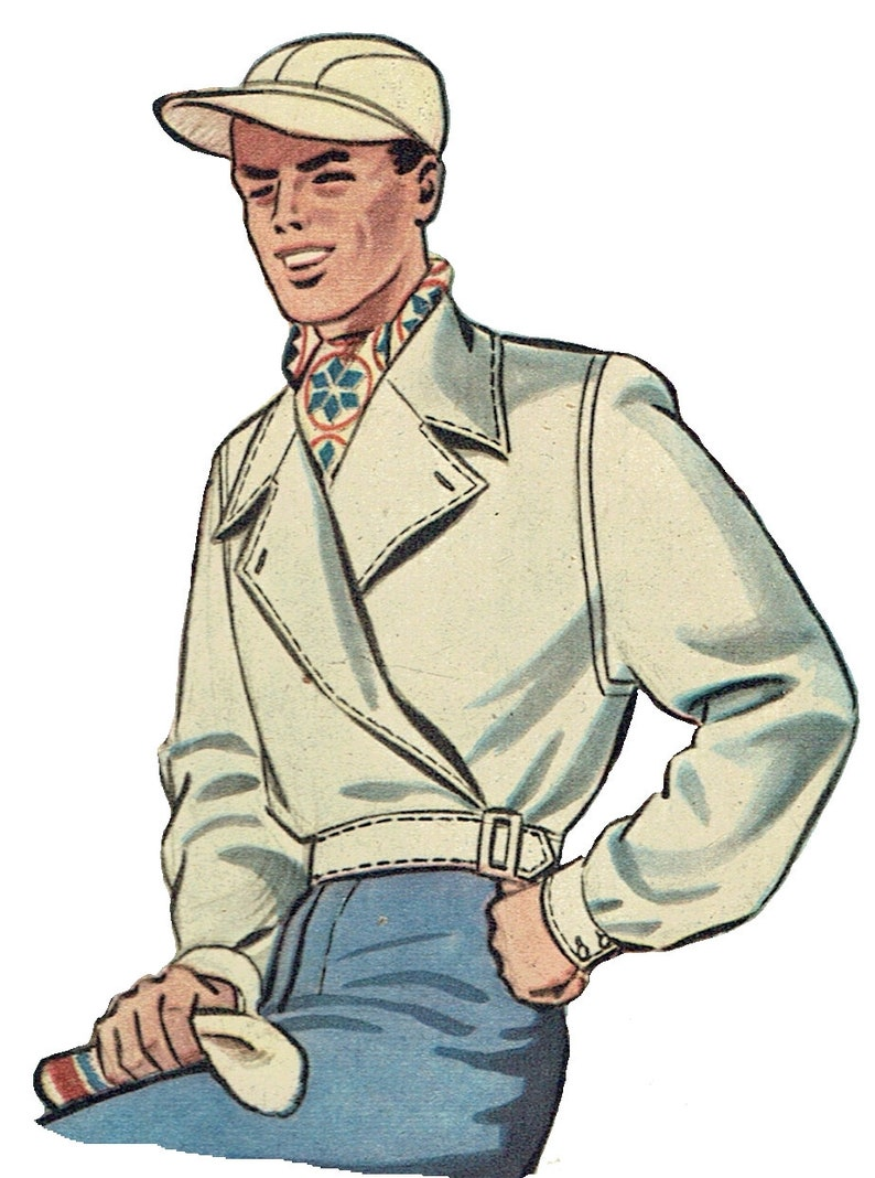 "Men's Vintage Reproduction Sewing Patterns Vintage 112cm/44"" chest size 1940s men lumber jacket / ski jacket sewing pattern $26.02 AT vintagedancer.com"