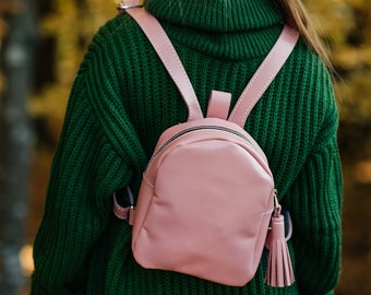 4cf1602ca409 Small leather backpack street vintage style purse teen girl